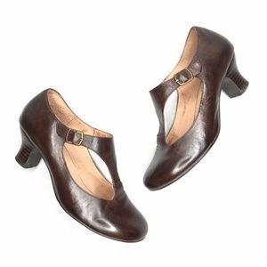 Miz Mooz Trina Mary Jane Brown Leather Pumps 8.5